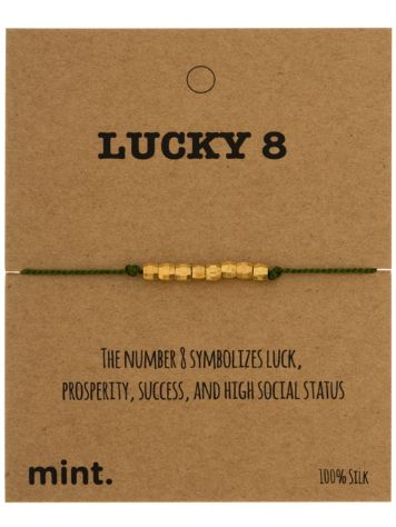 mint Lucky 8 Brass Beads Silk Bracelet