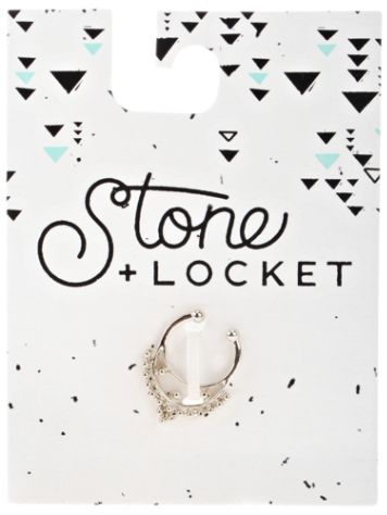 Stone and Locket Silver Faux Septum Nose Ring