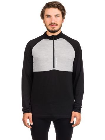 Mons Royale Merino Checklist 1/2 Zip Geo Tech Tee LS