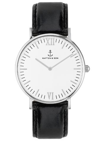 Kapten&Son Campus Black Suede Leather White 40mm Horloge