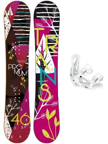 TRANS Premium 155 + Team Girl M Wht 2018 Snowboard Set