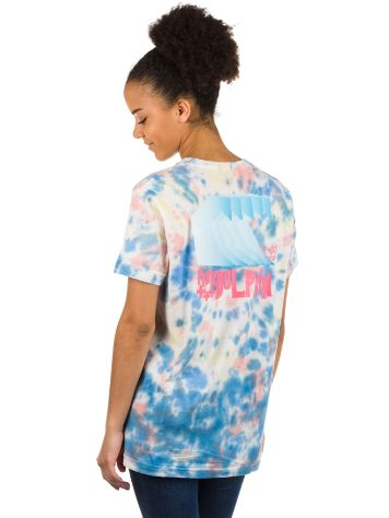 Pink Dolphin Waves Block Multie Tie Dye T-shirt
