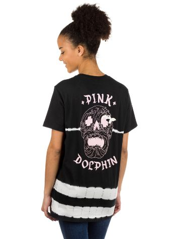 Pink Dolphin Waves Skull Black Tie Dye T-shirt